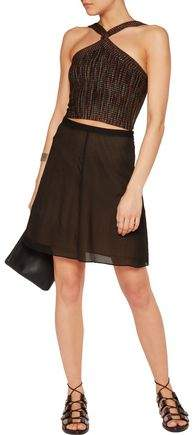 Alexander Wang Cropped Ribbed Stretch-Knit Top