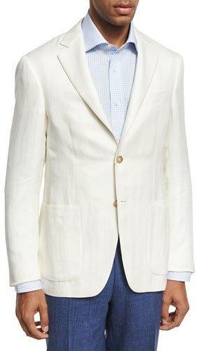 CanaliCanali Herringbone Silk-Linen Two-Button Blazer, Ivory
