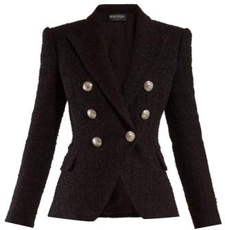 Balmain Double Breasted Tweed Blazer - Womens - Black