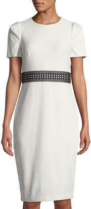 Iconic American Designer Lace-Belt Puff-Sleeve Sheath Dress