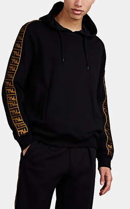 Fendi Men's Logo-Striped Cotton-Blend Fleece Hoodie - Black