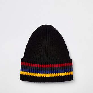 River Island Black stripe fisherman knit beanie hat