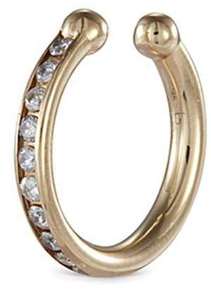 Lynn Ban 'Channel Orbital Hoop' diamond 14k yellow gold single ear cuff