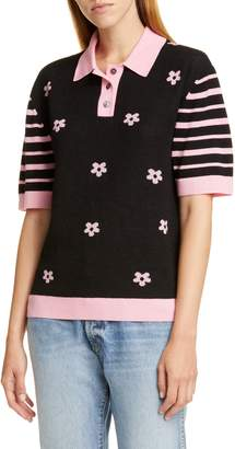 Sandy Liang Angel Short Sleeve Polo Sweater