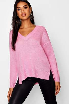 boohoo V Neck Loose Fit Jumper With Side Seam