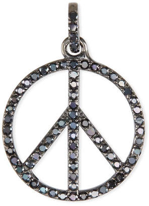 Margo Morrison Black Spinel Peace Sign Charm Pendant