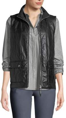 Lafayette 148 New York Greenlee Tissue-Weight Lamb Leather Vest