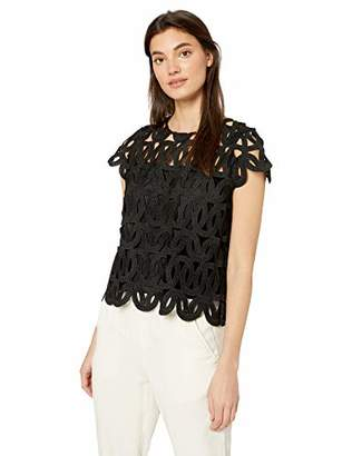 Milly Women's Cap Sleeve Embroided Scallop Lace Cropped Baby Tee