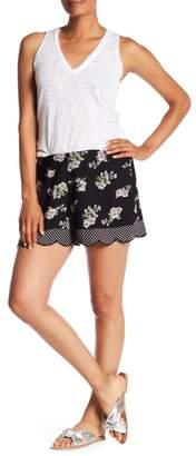 Angie Floral Polka Dot Scallop Shorts