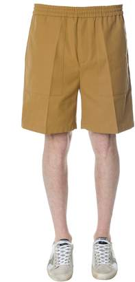 Golden Goose Mustard Drawstring Shorts In Cotton