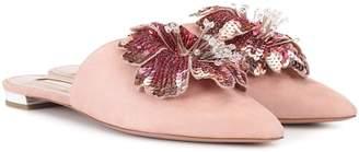 Aquazzura Disco Flower suede slippers