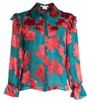 Alice + Olivia Ziggy Ruffled Floral Shirt