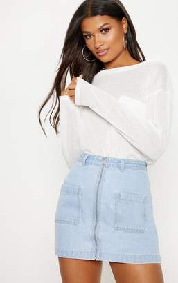 PrettyLittleThing Light Wash Front Zip Denim Skirt