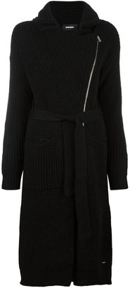 Diesel dislocated zip ribbed cardi-coat $249.32 thestylecure.com