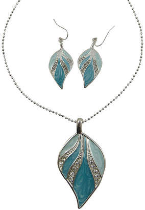 MIXIT Blue & Green Enamel Leaf Pendant Necklace & Earring Set
