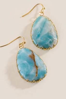 francesca's Cindy Quartz Teardrop Earrings - Mint