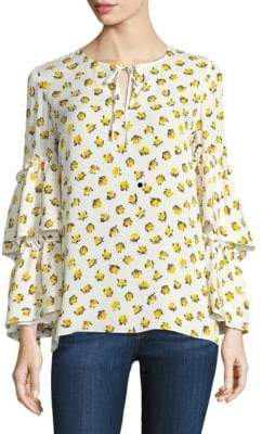 KOBI HALPERIN Savanna Bell-Sleeve Silk Blouse