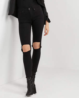 Express Mid Rise Black Blown-Out Knee Stretch Jean Leggings