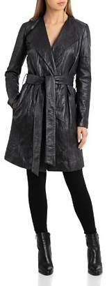 Bagatelle Textured Leather Wrap Coat