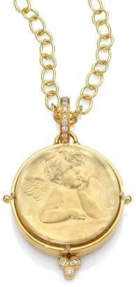 Temple St. Clair Angel Rock Quartz Crystal, Diamond & 18K Yellow Gold Locket