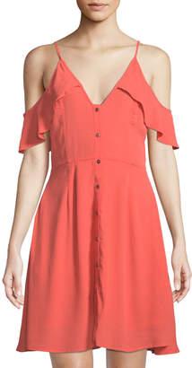 Astr Gabriella Button-Down Cold-Shoulder Dress