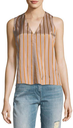 Giada Forte V-Neck Sleeveless Striped Top