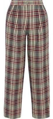 Derek Lam Pleated Checked Wool-Canvas Wide-Leg Pants