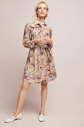 Burning Torch Watercolor Silk Shirtdress