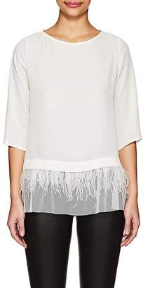 Explosion Women's Feather & Tulle-Trimmed Crepe Blouse