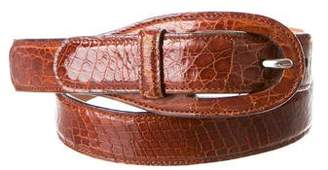 Tod's Embossed Leather Buckle Belt