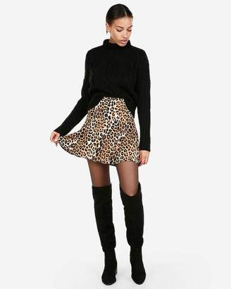 Express High Waisted Leopard Mini Skirt