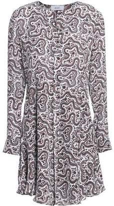 A.L.C. Pleated Printed Silk Mini Dress