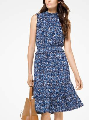 MICHAEL Michael Kors Paisley Smocked Matte-Jersey Dress