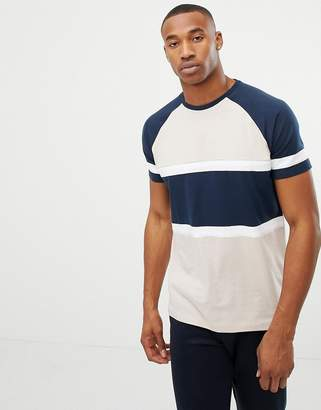 Asos DESIGN relaxed raglan t-shirt with contrast body panel in biege