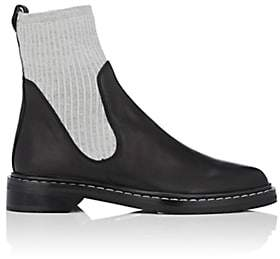 The Row Women's Fara Knit & Leather Ankle Boots - Black, Silver grey