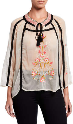 Raga Tigerlily Sheer Embroidered Blouse