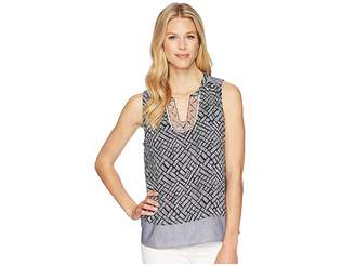Tribal Printed Sleeveless Blouse with Embroidered Placket Women's Blouse