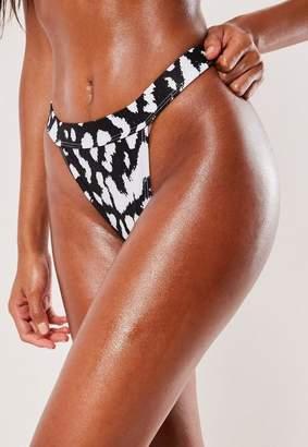 Missguided Black Animal High Leg Tanga Mix And Match Brief