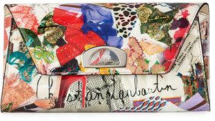 Christian Louboutin Christian Louboutin Vero Dodat Flap Trash-Print Patent Clutch Bag, Multi