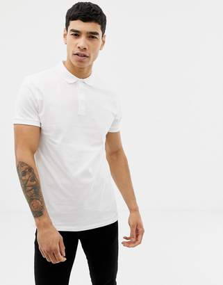 Asos Design DESIGN short sleeve jersey polo in white