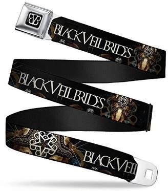 BVB Logo Full Color Black/White Seatbelt Belt - BLACK VEIL BRIDES Masked Skull Black/Gold/Tan Webbing X-LARGE