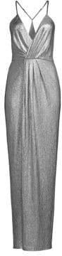 Laundry by Shelli Segal Spaghetti Halter Metallic Dress