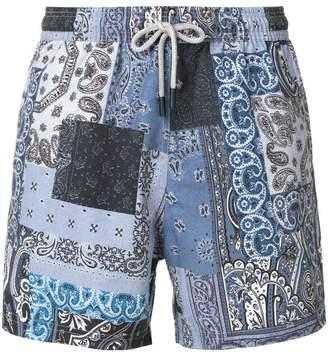 Etro paisley patch swim shorts