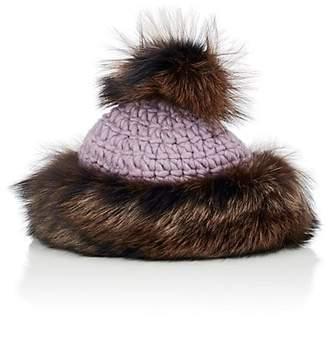 Albertus Swanepoel Women's Dolores Fox Fur & Wool Beanie - Light, Pastel purple