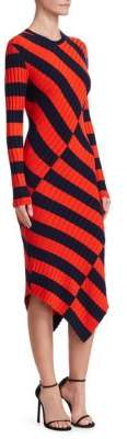 Altuzarra Whistler Asymmetrical Stripe Ribbed Dress