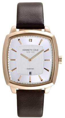 Kenneth Cole New York Men's 2-Hand Date Leather Strap Watch, 20mm