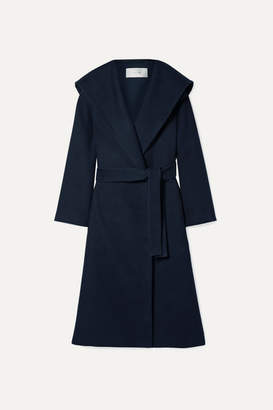 The Row Riona Oversized Hooded Belted Cotton And Wool-blend Coat - Navy