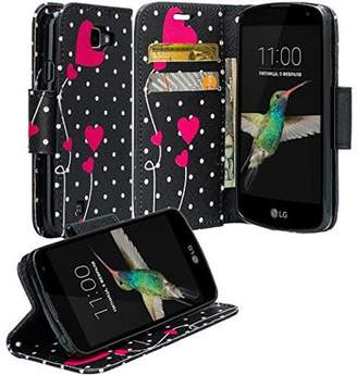LG Electronics K4, Optimus Zone 3, Spree, Rebel Case - Wydan Wallet Leather Credit Card Flip Book Style Folio Kicktand Feature Cover w/ Wrist Strap Polka Dot Heart
