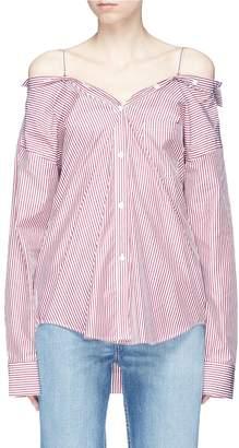 Theory Tamalee' stripe poplin off-shoulder shirt