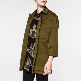 Women's Khaki Cotton-Twill Utility Jacket $395 thestylecure.com